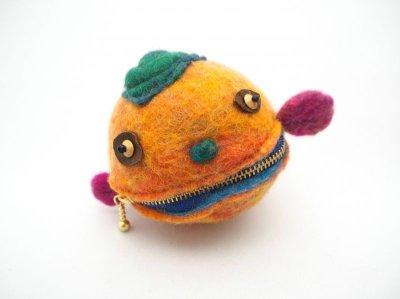 画像1: まん丸ポーチ(橙)