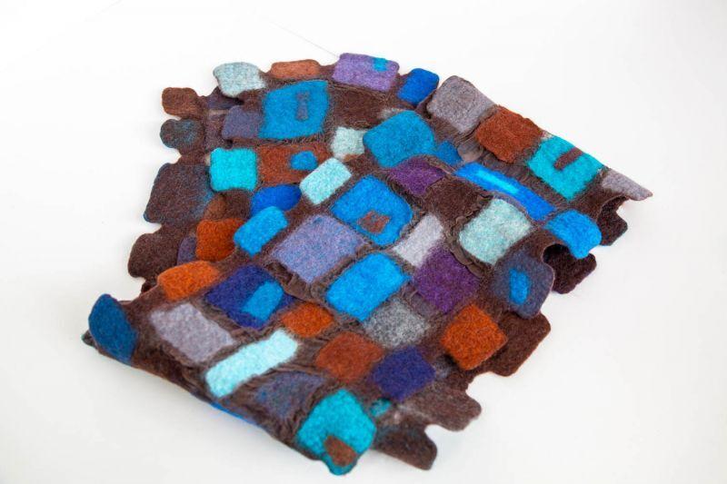 画像1: ブロックマフラー(ブルー) (1)