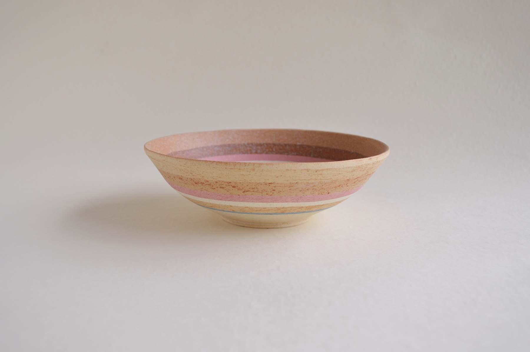 画像1: 縞中鉢・ブルー&ピンク (1)