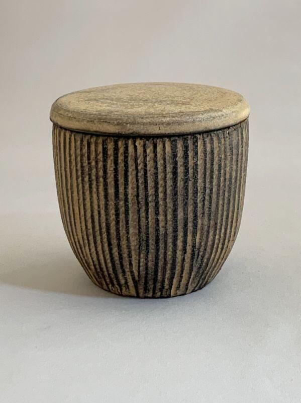 画像1: 茶器 ストライプ(木のふた付) (1)