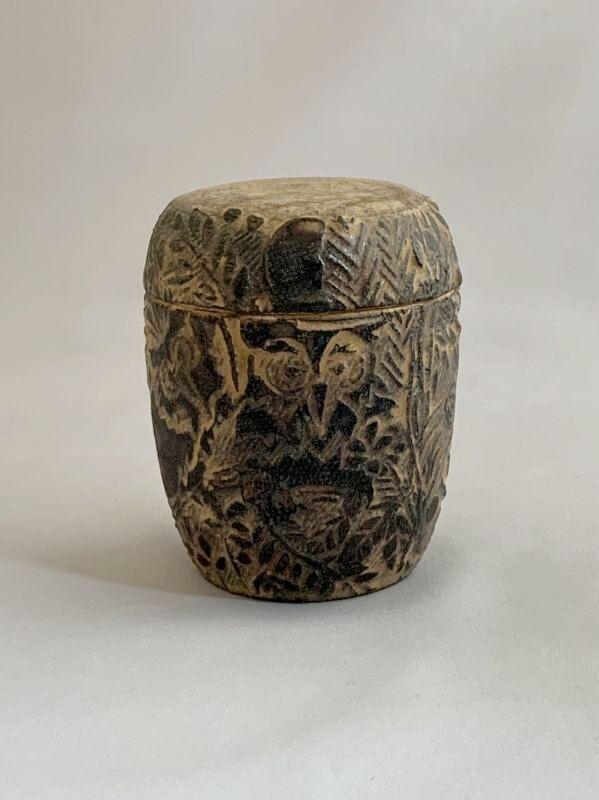 画像1: 茶器 フクロウ(木のふた付) (1)