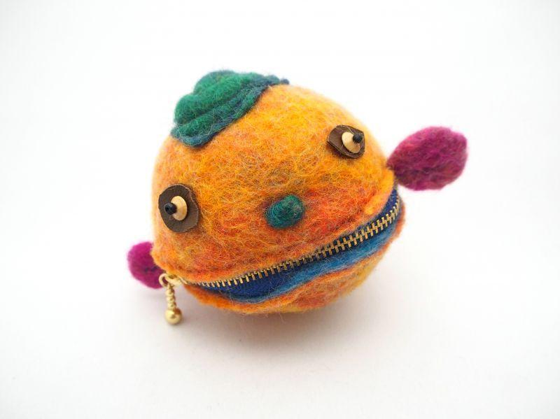 画像1: まん丸ポーチ(橙) (1)